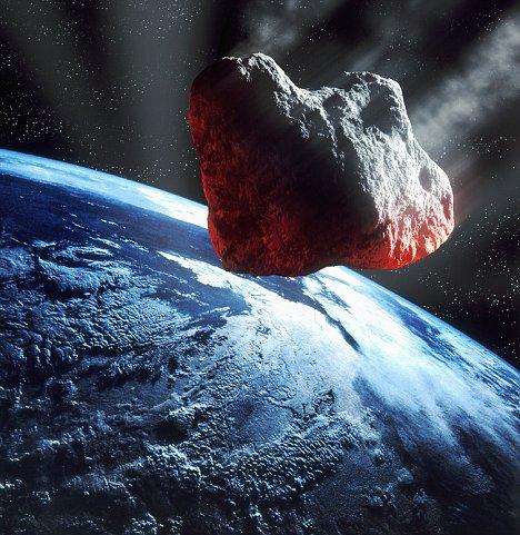 图片说明:小行星撞击地球模拟图