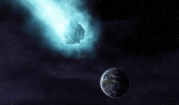 图片说明:彗星撞击地球模拟图