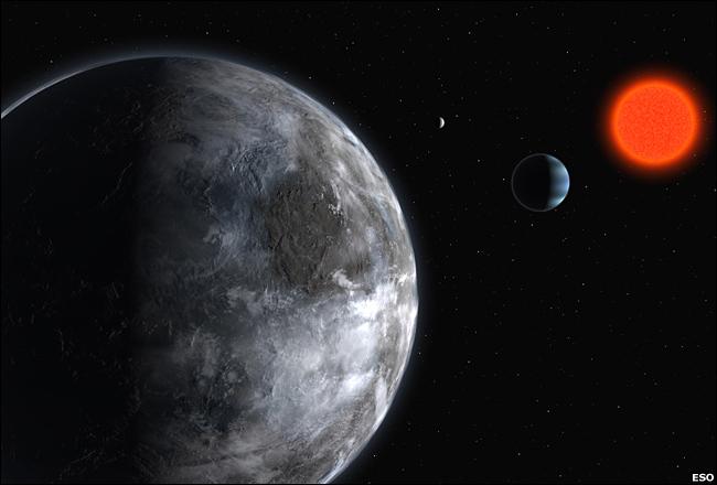 图片说明:Gliese581d模拟图,最小的那个弧形亮点就是它