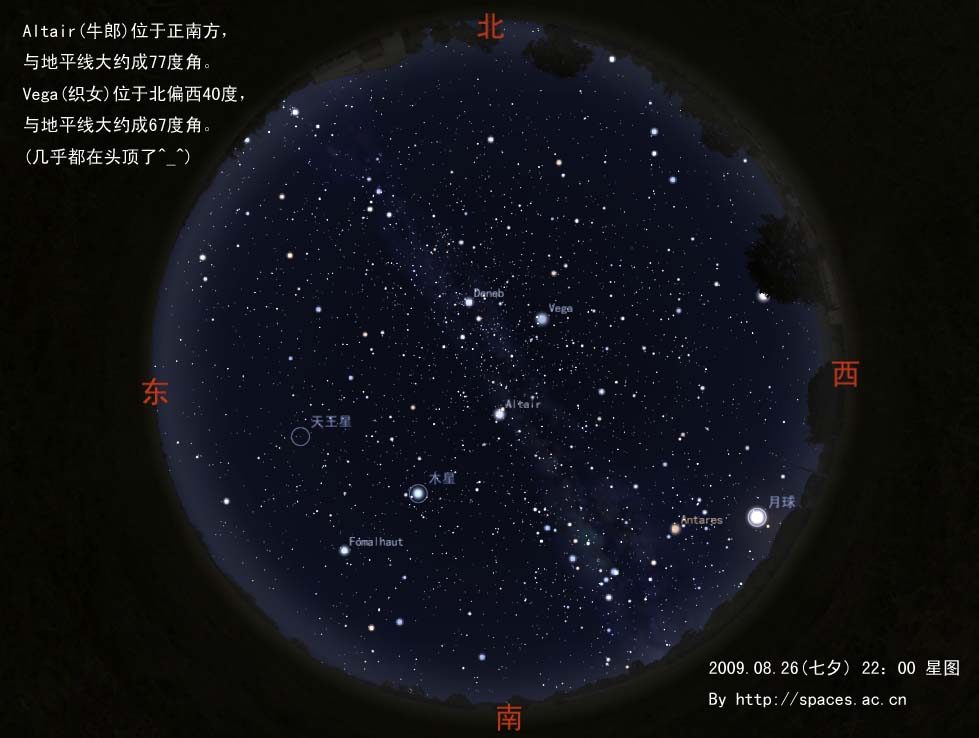图片说明:七夕当晚星空图片,观测地点为广东省云浮市新兴县