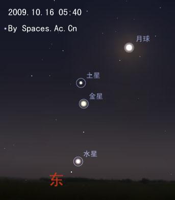 到了10月16日的黎明时,农历二十八的残月也会加入三星会聚。届时大家起个大早,观测这三星伴月的好戏。