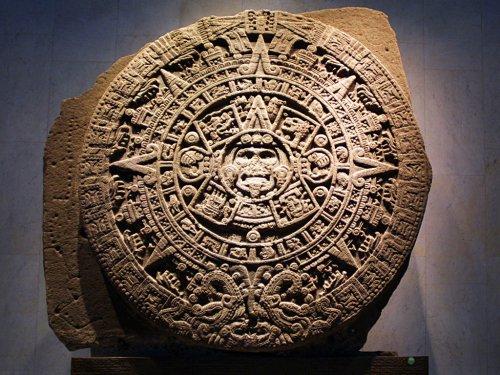 [图片说明]:刻有玛雅历法的石碑。