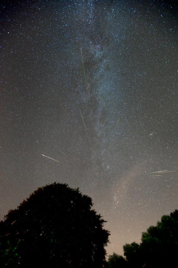 2010年8月12日晚,天文学家Marco Verstraaten在6小时期间用广角镜头,在荷兰一个光害不低的地点,记录了一系列的长曝光流星影像。