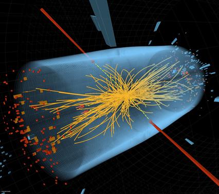 """计算机模拟的希格斯粒子(""""上帝粒子"""")衰变"""