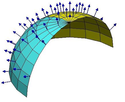 如图,可以在球面上每一点建立不同的局部坐标系,至少这些坐标系的竖直方向的轴指向是不一样的。